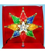 Light Up Christmas 8 Point Star Tree Topper 8 inch Multi Color - $14.99
