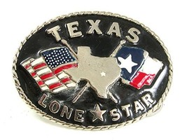 Vintage TEXAS Lone Star State Flags Buckle Made In USA 41617 - $24.74