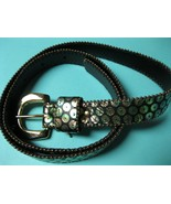 Mod Genuine LEATHER Ladies BELT -Size Small -with Iridescent Geometric Circles - £11.98 GBP