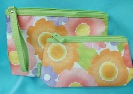 Clinique 2pc Cosmetic Bag Set Makeup Travel Large & Small Zipper Watercolors New - $7.50