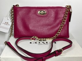 Coach Pebbled Leather Quinn Crossbody Bag in Cranberry (wallet sized) Ne... - $113.85