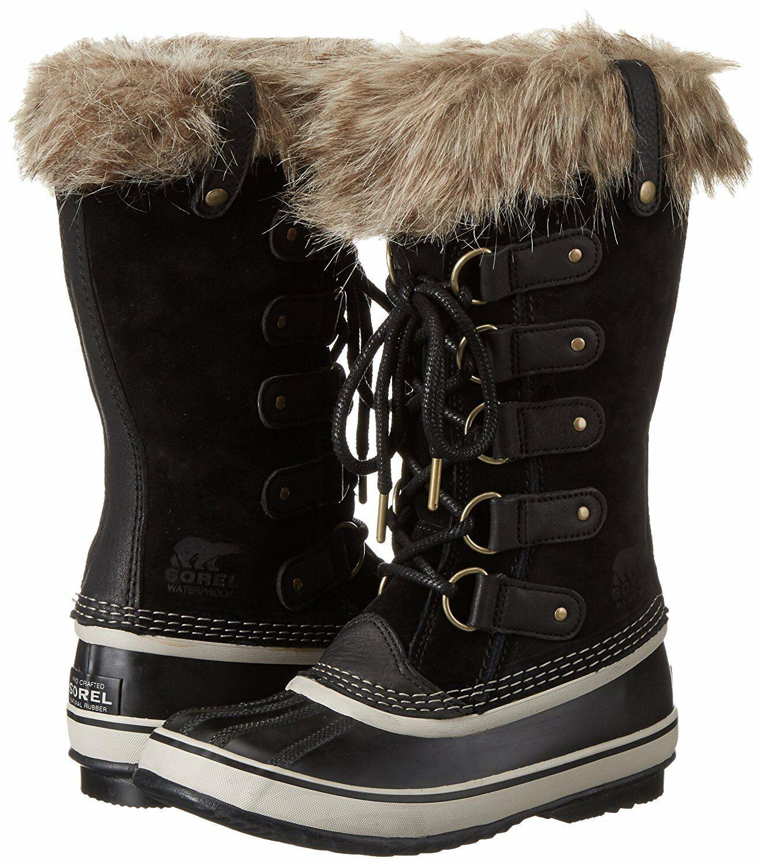 SOREL Women's Black/Stone Insulated Leather Joan Of Arctic Winter Snow Boots NIB