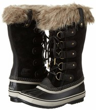 SOREL Women's Black/Stone Insulated Leather Joan Of Arctic Winter Snow Boots NIB