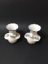 2 Vintage Porcelain Dove Bird Trumpet Vases Flowers on Wings Takahashi - $16.44