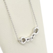 ORSINI 18K WHITE GOLD NECKLACE, DOUBLE INFINITE CENTRAL DIAMOND, MINI ROLO CHAIN image 2