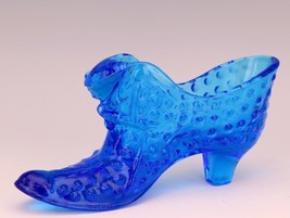 Vintage Fenton Art Glass Colonial Blue Hobnail Cat Slipper