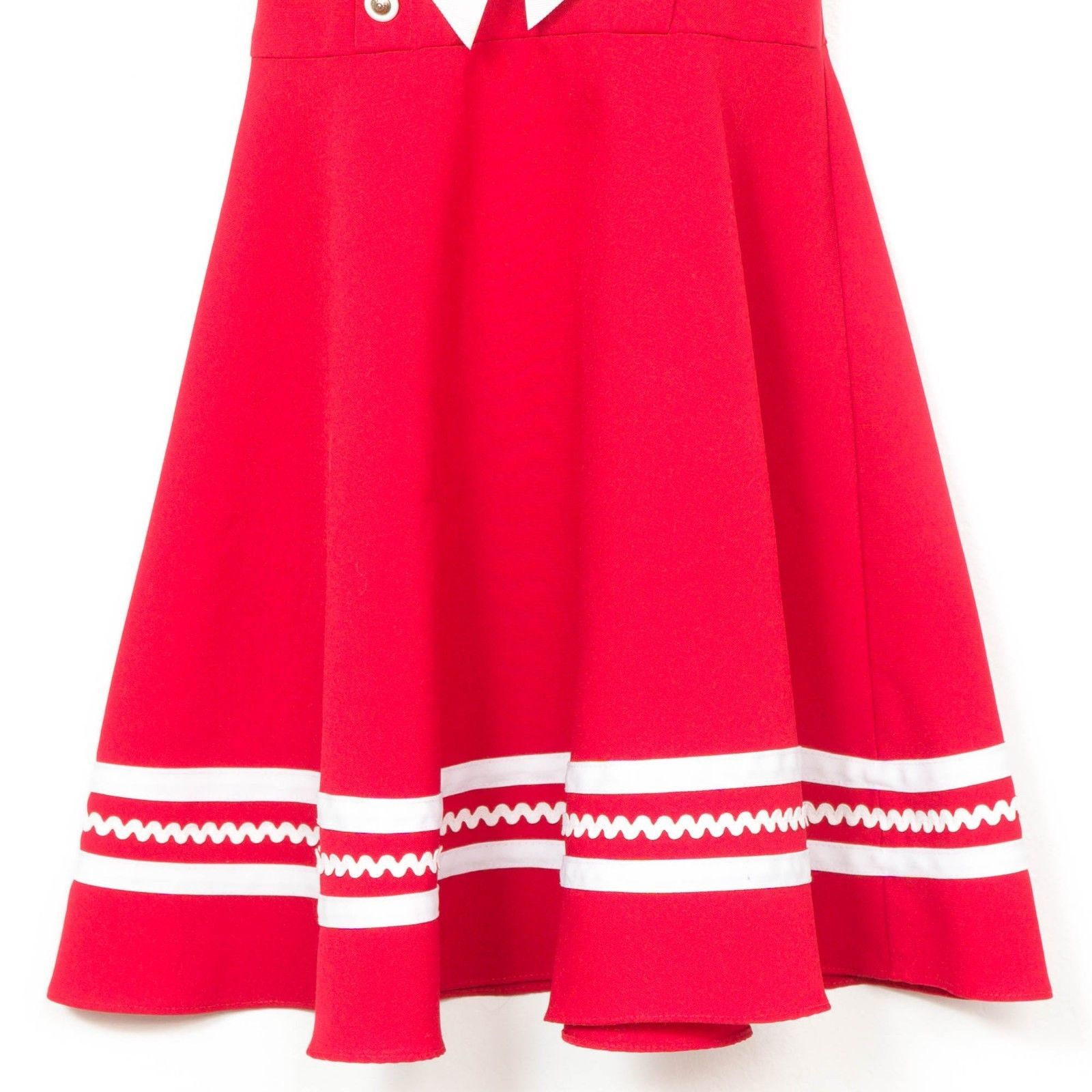 33fb9606f2c Bonnie Jean Sailor Dress 7 Girls Red Collar Short Sleeve RicRac Bow Buttons