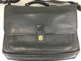 Coach Black Leather Briefcase Attache 5180 Metropolitan Vintage Made in USA - $132.30