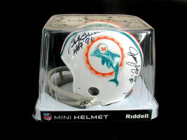 BOB GRIESE LARRY LITTLE JIM LANGER HOF DOLPHINS SIGNED AUTO 2 BAR HELMET... - $247.49