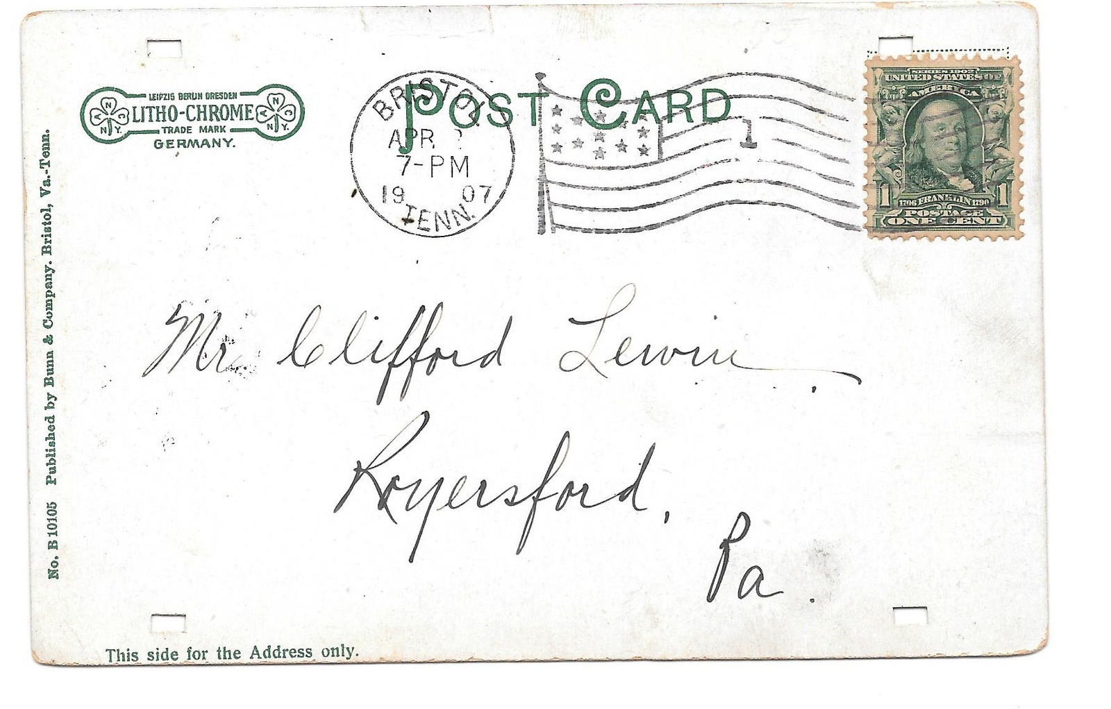 1907 Bristol Tennesssee Flag Cancel on PPC Dead Post Office DPO 1865 to 1975