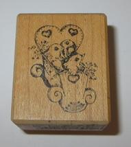 Baby Birds Rubber Stamp Wooden Bassinet Stampa Barbara RARE Feeding Time WM - $9.69