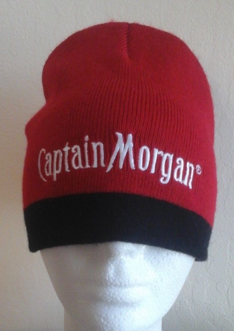 78c6ceca3a926 S l1600. S l1600. Previous. CAPTAIN MORGAN BEANIE HAT RUM PIRATE PROMO ITEM  RED AND BLACK NWOT--EUC!