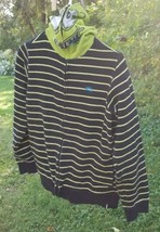 Tony Hawk Brand Black & Green Monster Face Striped Hoodie Size Large - $13.00