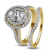 Oval Shape White CZ Bridal Engagement Ring Set 14k Yellow Gold Plated 925 Silver - $93.50