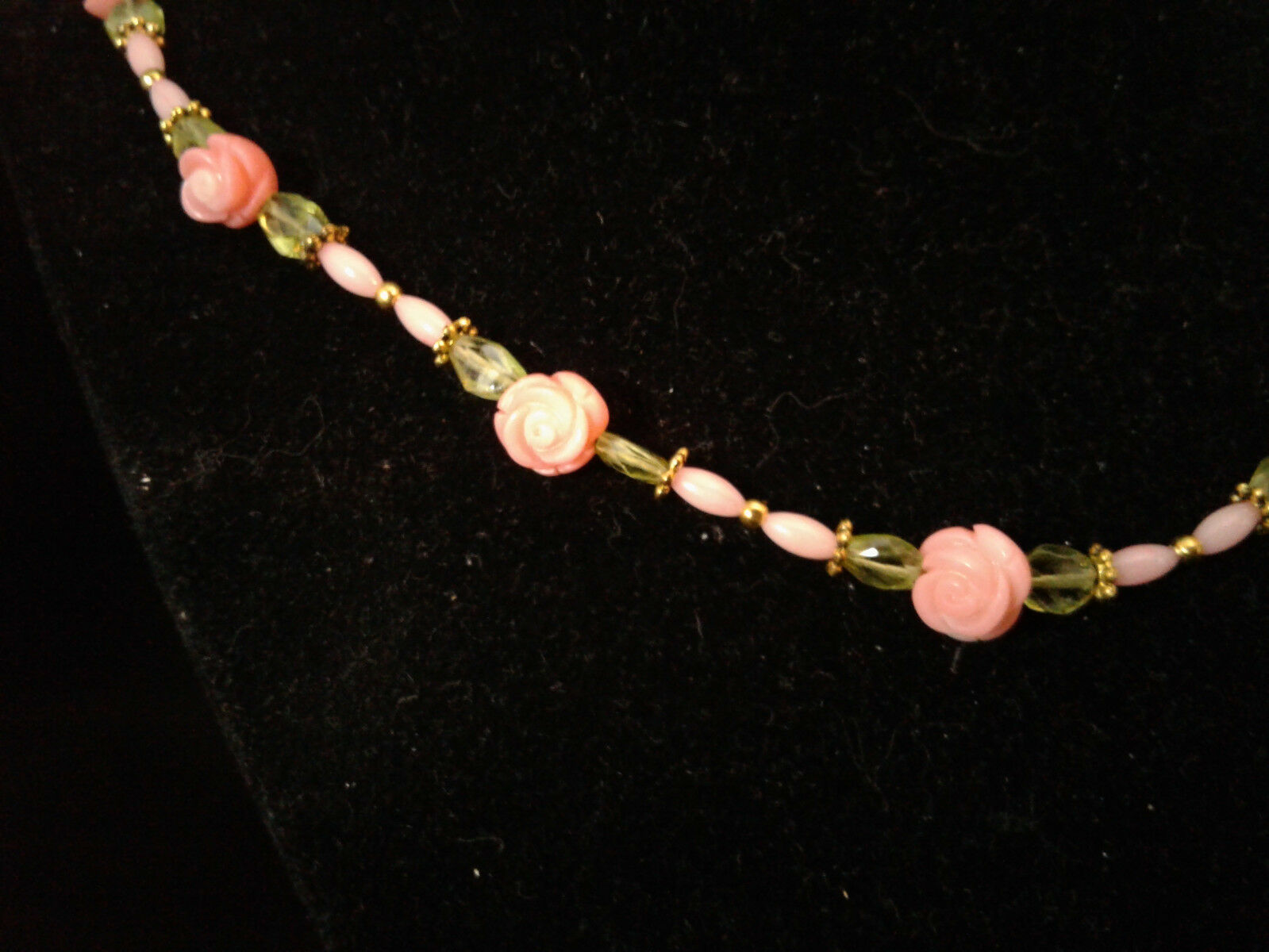 Beaded Necklace, Pink Coral, Peridot, Roses, Handmade, #z461