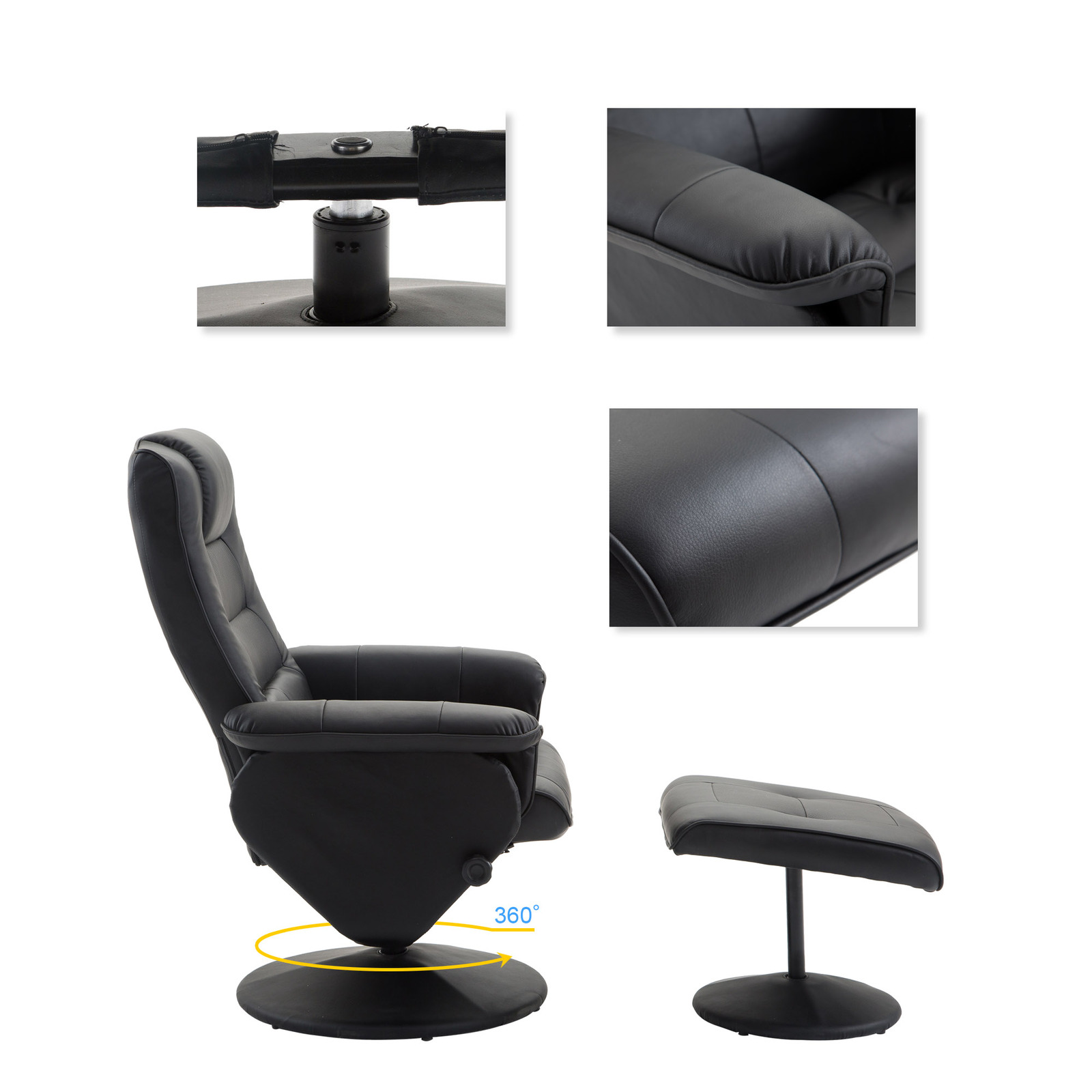 PU Leather Recliner Chair w/Ottoman Leisure Swivel Sofa Executive Furniture Set