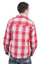 Tavik Uomo Rosso Grigio Checker Slacker Lumberjack Flanella con Bottoni Up Nwt image 3