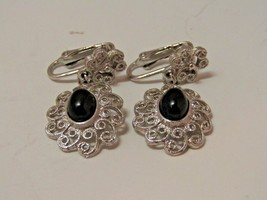 Vintage Amway Silver & Black Clip On Earrings Costume Jewelry Dangle Ear... - $9.90
