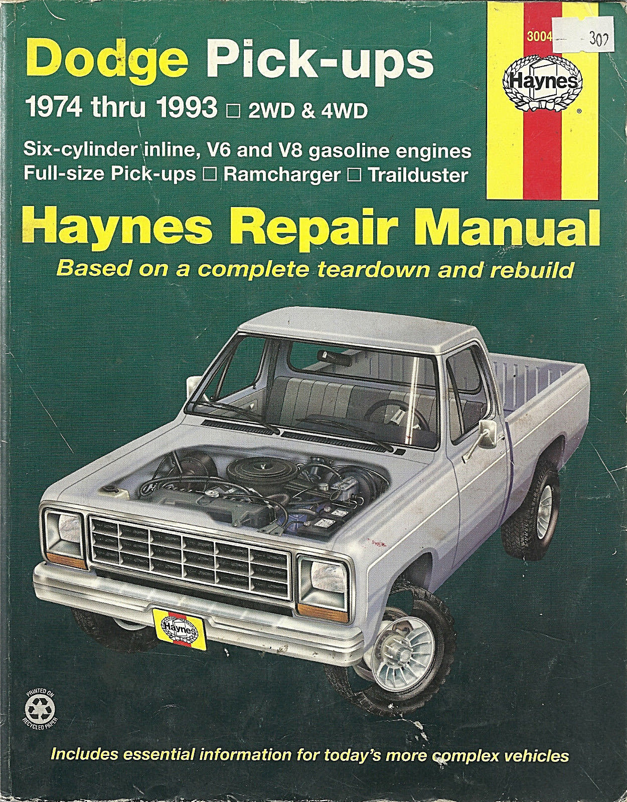 Dodge D200 Pickup Haynes Repair Manual Base Shop Service Garage Book xl