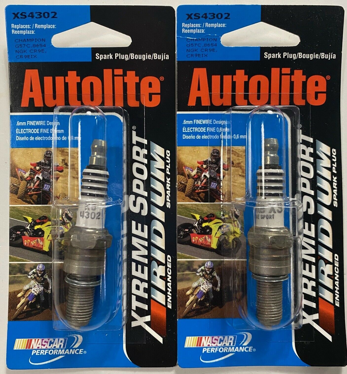 Set 2x Autolite XS4302 Xtreme Sport Iridium Enhanced Spark Plugs G57C 8654 CR9E