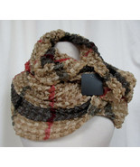 "Cowl Scarf Crinkle Puckered 17"" x 66"" Lots of Stretch Scarf & Co Tan Red... - $9.79"