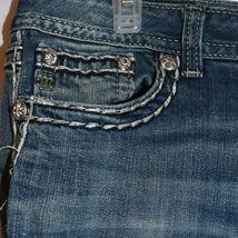 Miss Me Women's Fleur de Lis Mid-Rise Easy Boot Cut Blue Denim Jeans Size 30 image 4