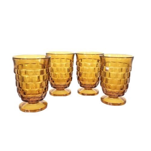 """4 Whitehall Colony Cube Juice Glasses 3 7/8"""" Amber Indiana Juice Footed Glasses - $29.99"""