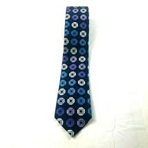 Michael Kors men's necktie blue purple geometric silk professional business - $11.61