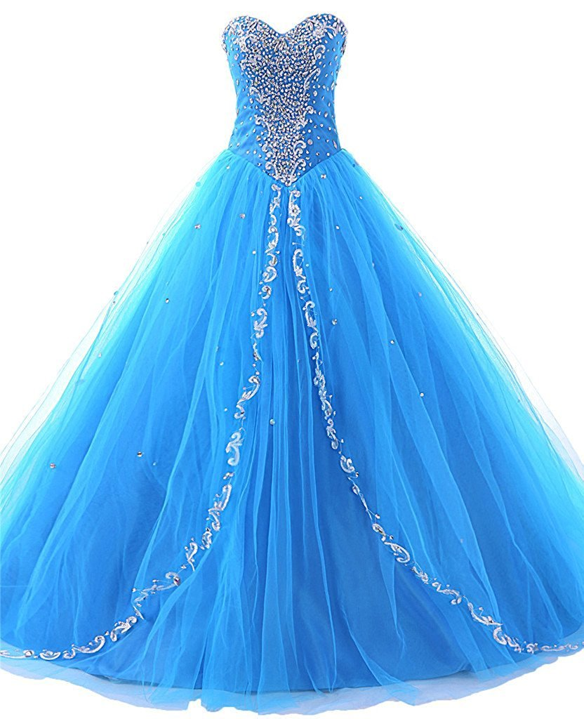 Tulle Sweetheart Long Quinceanera Dresses 2017 Formal Prom Dresses Ball Gown - $153.00
