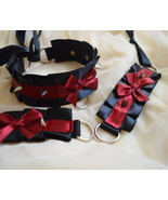 Made to Order . Kitten play collar and cuffs - Little devil - spiked  bd... - $42.00