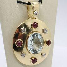 18K YELLOW GOLD NECKLACE BIG OVAL AQUAMARINE RUBY DIAMOND PENDANT SQUARE CHAIN image 8