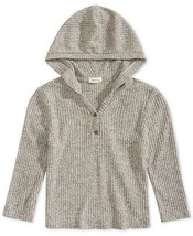 Monteau Big Girls Gray Cropped V Neck Hooded Sweater Size L - $10.89