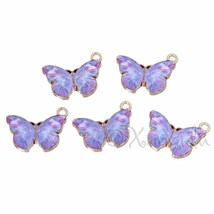 Purple Butterfly 20mm Wholesale Gold Plated Enamel Charms C2589 - 2, 5 O... - $10.00+