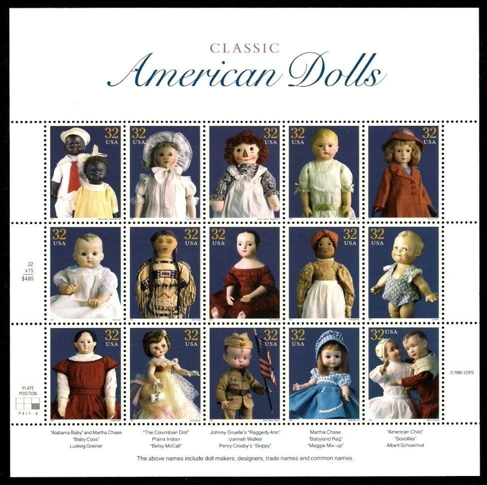 Classic American Dolls Sheet of Fifteen 32 Cent Stamps Scott 3151 By USPS