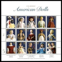 Classic American Dolls Sheet of Fifteen 32 Cent Stamps Scott 3151 By USPS - $7.95