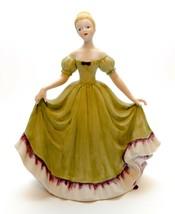 Vintage Ceramic Victorian Fair Lady Green Dress Woman Figurine Blond Hair - $24.75