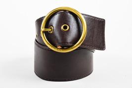 Michael Kors Dark Brown Leather Wide Band Waist Round Buckle Belt SZ S - $55.00