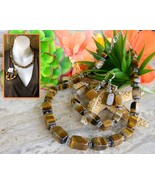 Tiger eye gemstones necklace bracelet earrings set demi parure hdny thumbtall