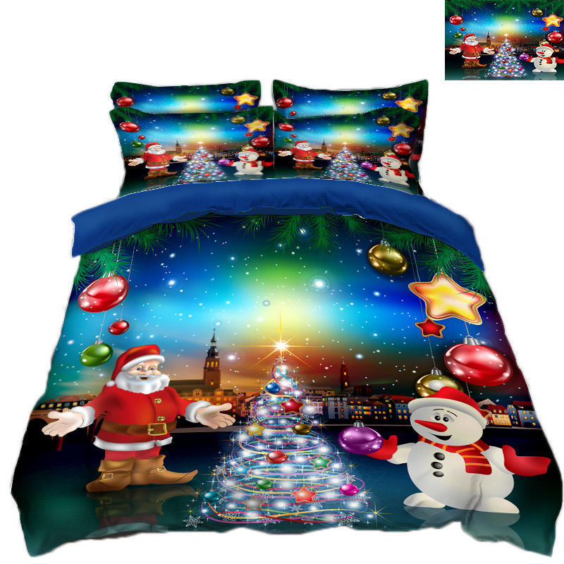 3D Christmas  Xmas 330 Bed Pillowcases Quilt Duvet Cover Set Single Queen King