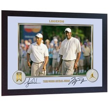 Michael Jordan Tiger Woods signed autograph Print photo NBA golf Framed - $21.95
