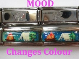 Hand Painted Campfire Tent on Mood Color Changing 9mm Classic Sz Italian Charm - $6.33