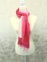 "Silk Scarf Pink Tie Dye 100% Silk 74"" x 30"" Tassels - $19.79"