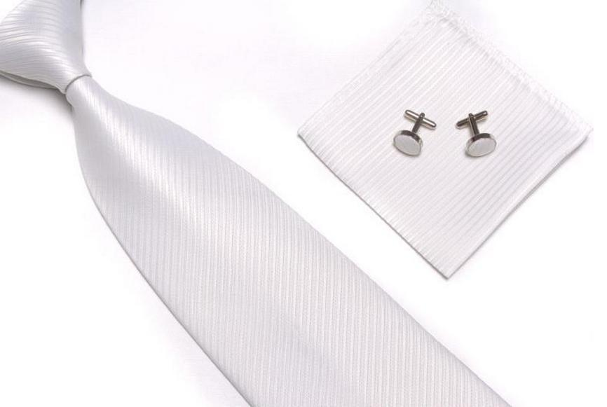 Ivory Wedding Set & Mens Tie Cufflinks Pocket Square by Frederick Thomas FT808