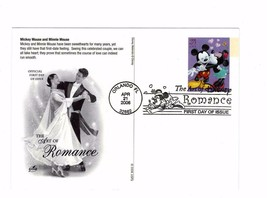 POSTCARD-FIRST DAY OF ISSUE-DISNEY-THE ART OF ROMANCE-Mickey Mouse & Min... - $2.94