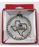 Nations Treasures Texas Seasons Greetings State Brass Metal Ornament Sou... - $15.00