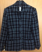 Sag Harbor Jacket Women Sz 12 Shimmer Black Blue Plaid Lined Shoulder Pa... - $25.49