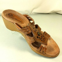 Earth Origins Womens Brown Leather Wedge Slide Sandals Brass Studs Size ... - $19.99