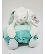 Moon & Stars Bunny Rabbit & Blanket Set Mint Green White Plush Stuffed T... - $14.99