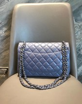 AUTH CHANEL LAVENDER PURPLE LAMBSKIN QUILTED JUMBO DOUBLE FLAP BAG SILVER HW image 2