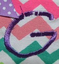 GANZ Brand Multi Color Chevron Monogram G Coin Purse With Purple Polka Dot Bow image 2